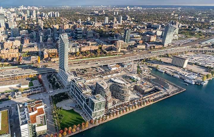 Toronto Waterfront aerial shot